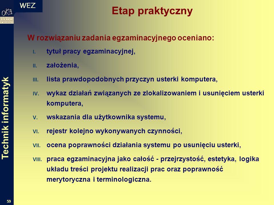 WEZ 59 W rozwiązaniu zadania egzaminacyjnego oceniano: I.