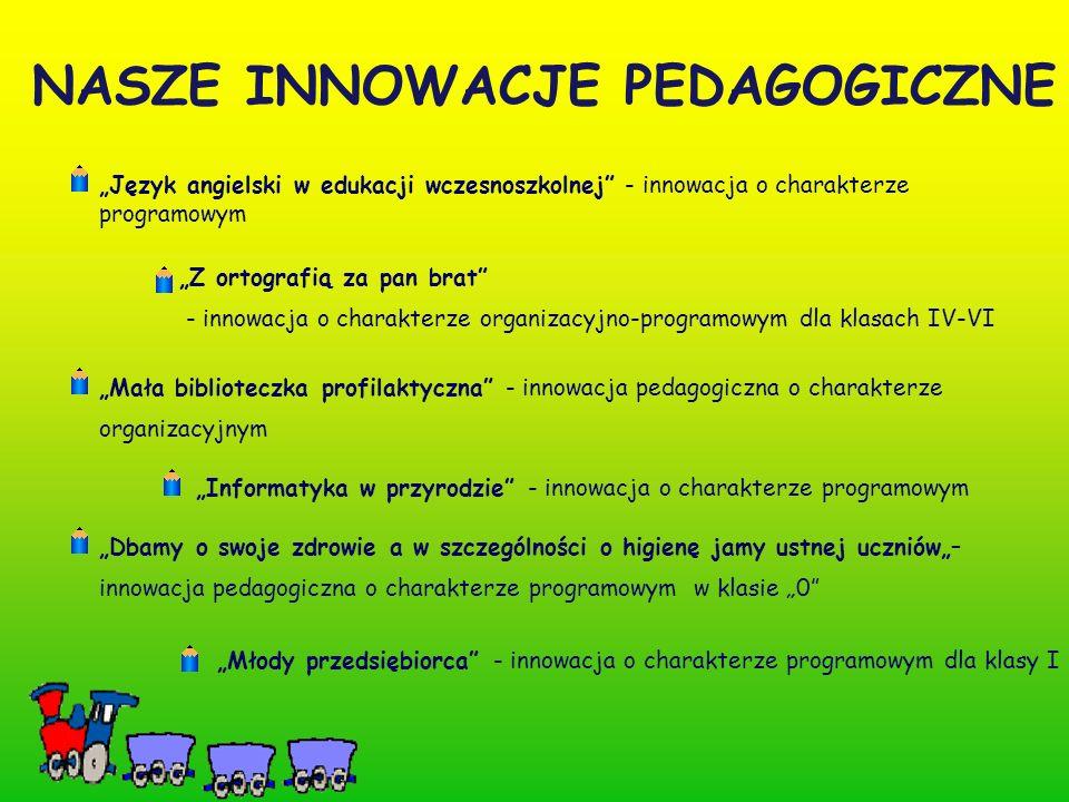 """NASZE INNOWACJE PEDAGOGICZNE """"Młody przedsiębiorca - innowacja o charakterze programowym dla klasy I """"Mała biblioteczka profilaktyczna - innowacja pedagogiczna o charakterze organizacyjnym """"Informatyka w przyrodzie - innowacja o charakterze programowym """"Dbamy o swoje zdrowie a w szczególności o higienę jamy ustnej uczniów""""– innowacja pedagogiczna o charakterze programowym w klasie """"0 """"Język angielski w edukacji wczesnoszkolnej - innowacja o charakterze programowym """"Z ortografią za pan brat - innowacja o charakterze organizacyjno-programowym dla klasach IV-VI"""