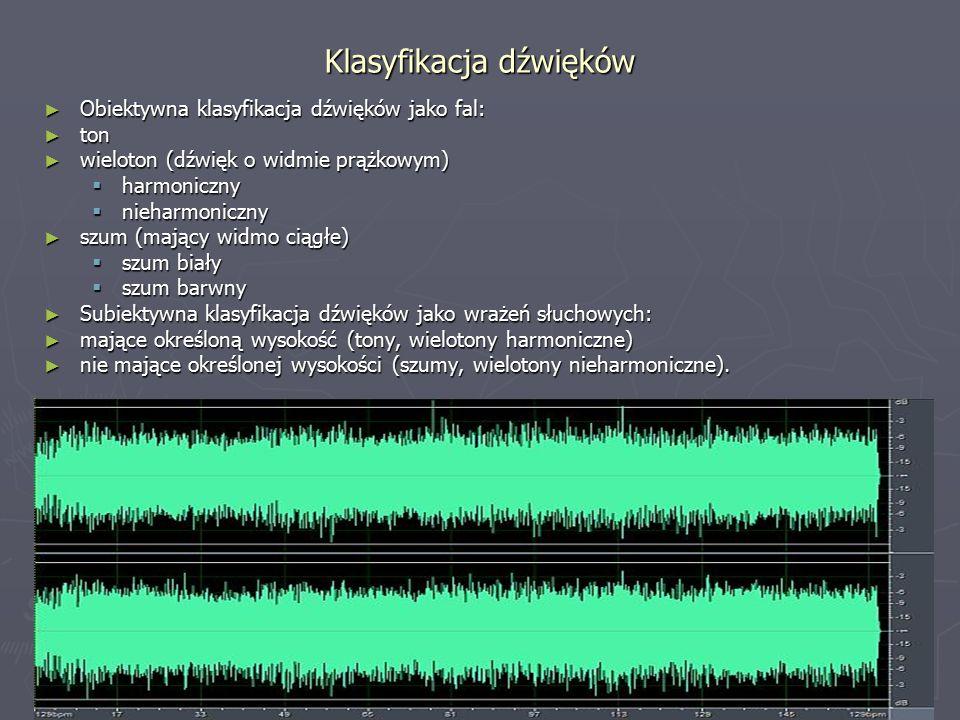 Klasyfikacja dźwięków ► Obiektywna klasyfikacja dźwięków jako fal: ► ton ► wieloton (dźwięk o widmie prążkowym)  harmoniczny  nieharmoniczny ► szum (mający widmo ciągłe)  szum biały  szum barwny ► Subiektywna klasyfikacja dźwięków jako wrażeń słuchowych: ► mające określoną wysokość (tony, wielotony harmoniczne) ► nie mające określonej wysokości (szumy, wielotony nieharmoniczne).