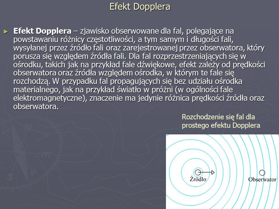 Efekt Dopplera ► Efekt Dopplera – zjawisko obserwowane dla fal, polegające na powstawaniu różnicy częstotliwości, a tym samym i długości fali, wysyłanej przez źródło fali oraz zarejestrowanej przez obserwatora, który porusza się względem źródła fali.
