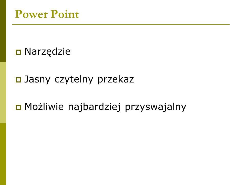 Power Point  Narzędzie  Jasny czytelny przekaz  Możliwie najbardziej przyswajalny