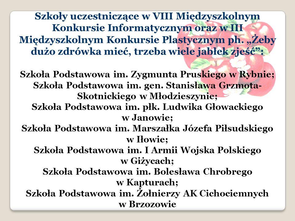 Szkoły uczestniczące w VIII Międzyszkolnym Konkursie Informatycznym oraz w III Międzyszkolnym Konkursie Plastycznym ph.