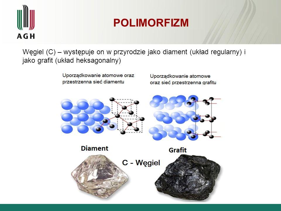 POLIMORFIZM Węgiel (C) – występuje on w przyrodzie jako diament (układ regularny) i jako grafit (układ heksagonalny)