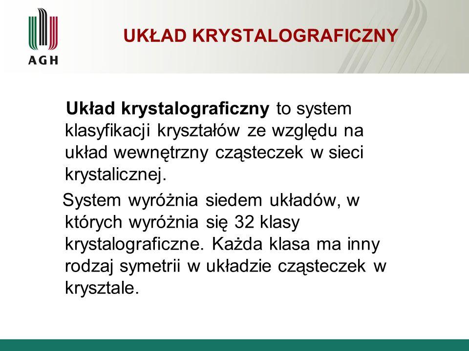 UKŁAD KRYSTALOGRAFICZNY Układ krystalograficzny to system klasyfikacji kryształów ze względu na układ wewnętrzny cząsteczek w sieci krystalicznej. Sys