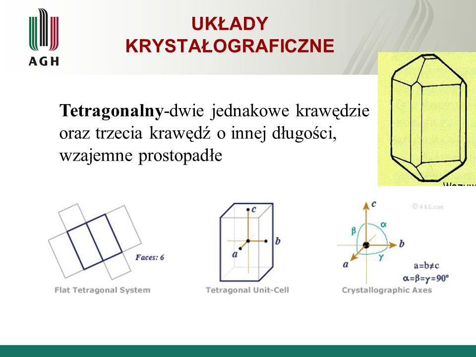 UKŁADY KRYSTAŁOGRAFICZNE Tetragonalny-dwie jednakowe krawędzie oraz trzecia krawędź o innej długości, wzajemne prostopadłe