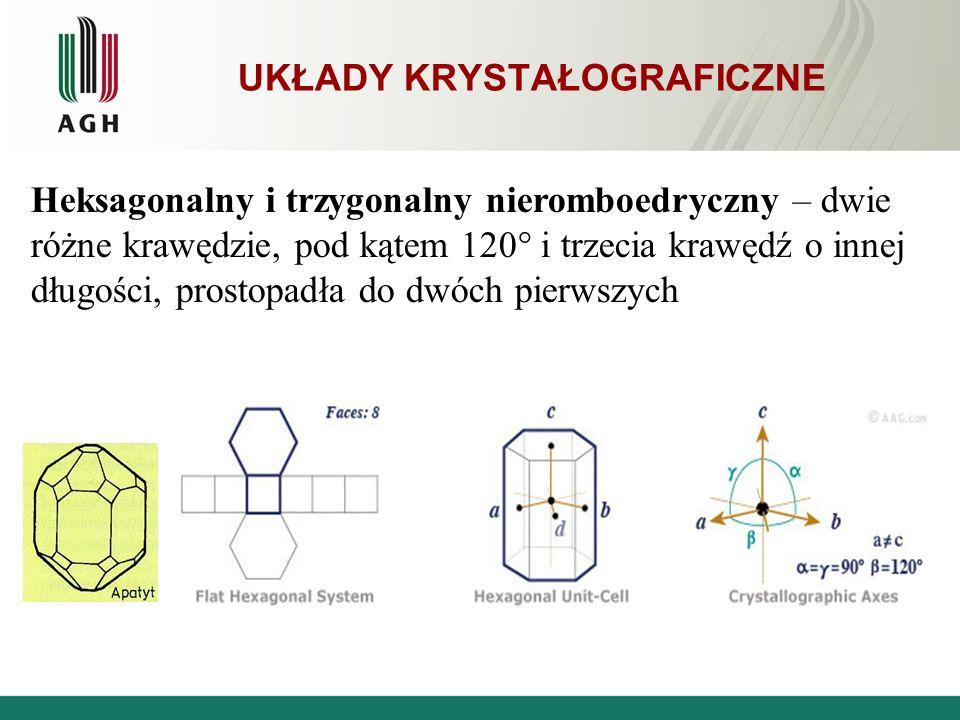 UKŁADY KRYSTAŁOGRAFICZNE Heksagonalny i trzygonalny nieromboedryczny – dwie różne krawędzie, pod kątem 120° i trzecia krawędź o innej długości, prosto