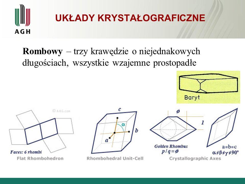 Rombowy – trzy krawędzie o niejednakowych długościach, wszystkie wzajemne prostopadłe UKŁADY KRYSTAŁOGRAFICZNE