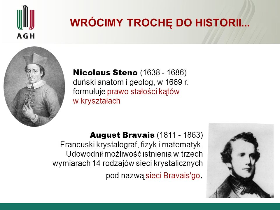 WRÓCIMY TROCHĘ DO HISTORII... Nicolaus Steno (1638 - 1686) duński anatom i geolog, w 1669 r. formułuje prawo stałości kątów w kryształach August Brava