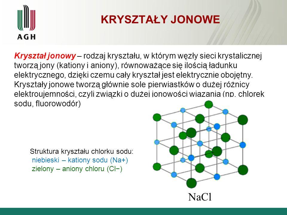 KRYSZTAŁY JONOWE NaCl Kryształ jonowy – rodzaj kryształu, w którym węzły sieci krystalicznej tworzą jony (kationy i aniony), równoważące się ilością ł