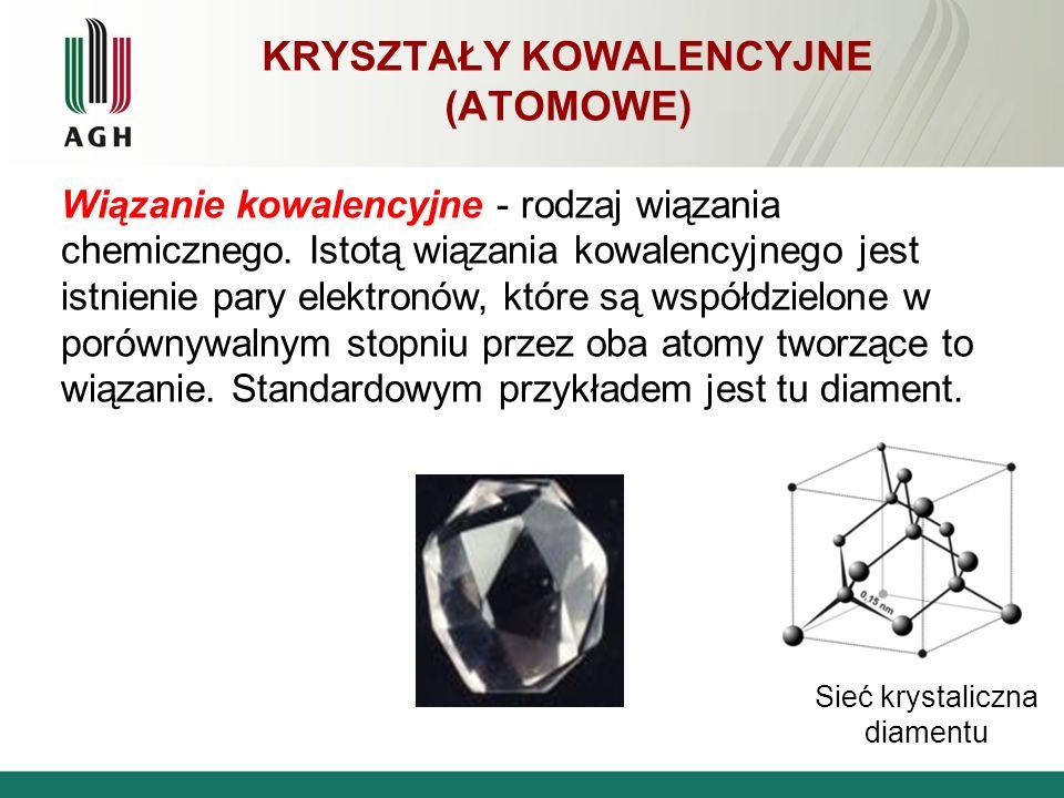 KRYSZTAŁY KOWALENCYJNE (ATOMOWE) Wiązanie kowalencyjne - rodzaj wiązania chemicznego. Istotą wiązania kowalencyjnego jest istnienie pary elektronów, k