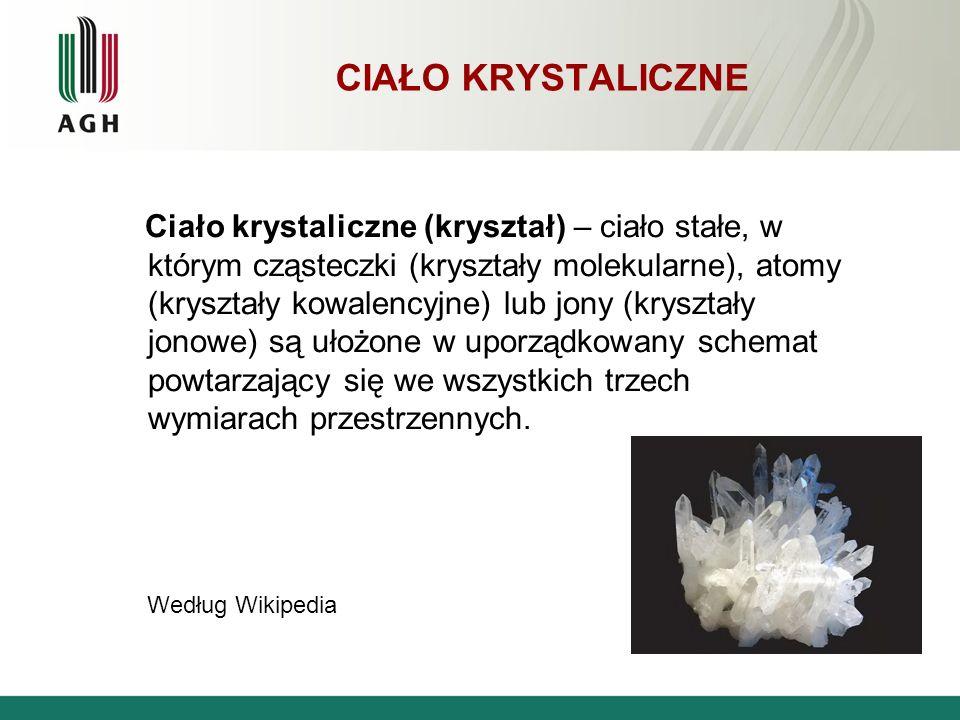 CIAŁO KRYSTALICZNE Ciało krystaliczne (kryształ) – ciało stałe, w którym cząsteczki (kryształy molekularne), atomy (kryształy kowalencyjne) lub jony (