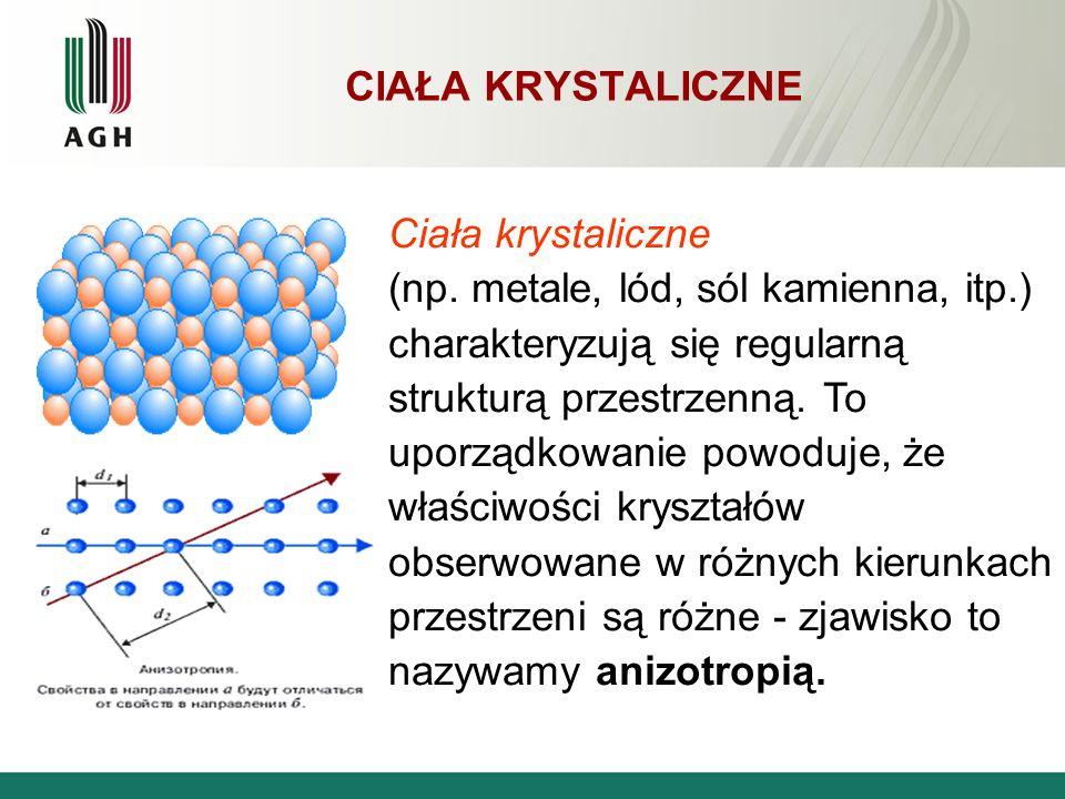 CIAŁA KRYSTALICZNE Ciała krystaliczne (np. metale, lód, sól kamienna, itp.) charakteryzują się regularną strukturą przestrzenną. To uporządkowanie pow