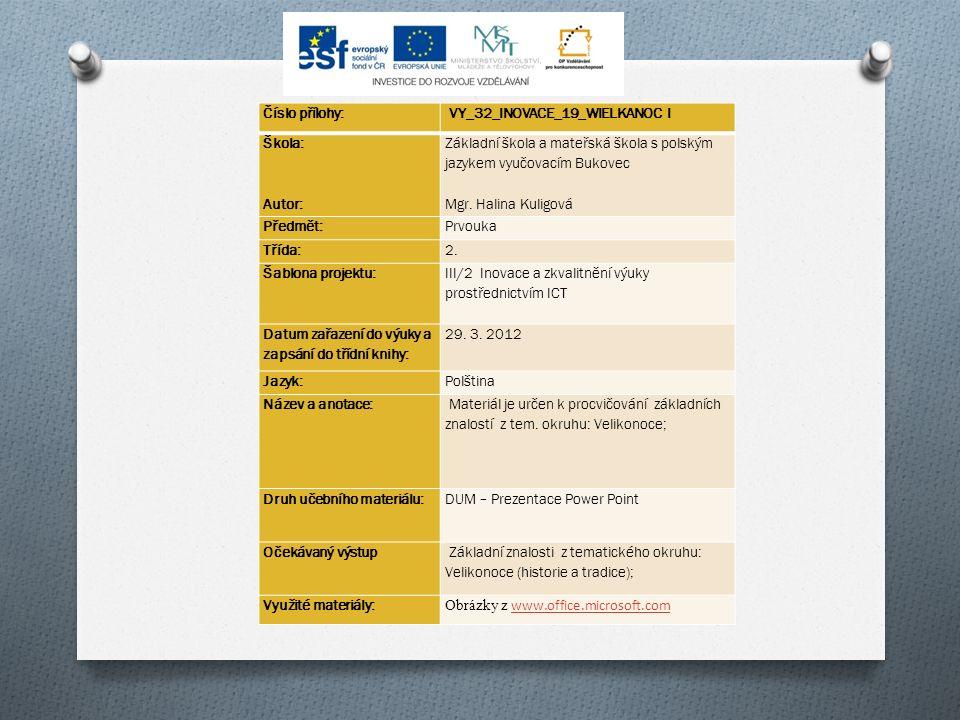 Číslo přílohy: VY_32_INOVACE_19_WIELKANOC I Škola: Autor: Základní škola a mateřská škola s polským jazykem vyučovacím Bukovec Mgr.