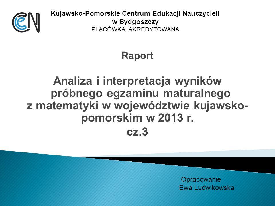 Raport Analiza i interpretacja wyników próbnego egzaminu maturalnego z matematyki w województwie kujawsko- pomorskim w 2013 r.