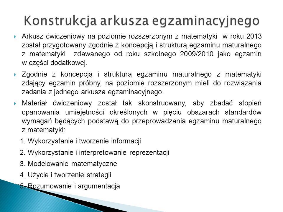 Konstrukcja arkusza egzaminacyjnego  Arkusz ćwiczeniowy na poziomie rozszerzonym z matematyki w roku 2013 został przygotowany zgodnie z koncepcją i strukturą egzaminu maturalnego z matematyki zdawanego od roku szkolnego 2009/2010 jako egzamin w części dodatkowej.