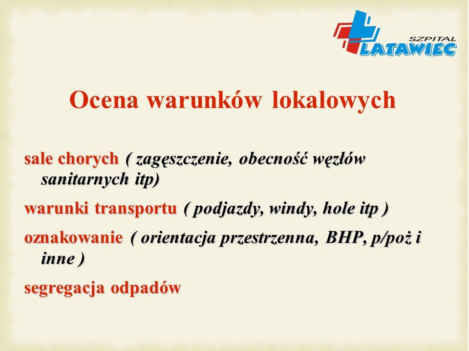 sale chorych ( zagęszczenie, obecność węzłów sanitarnych itp) warunki transportu ( podjazdy, windy, hole itp ) oznakowanie ( orientacja przestrzenna,