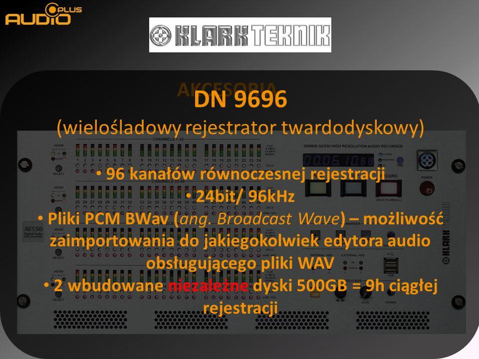AKCESORIA DN 9696 (wielośladowy rejestrator twardodyskowy) 96 kanałów równoczesnej rejestracji 24bit/ 96kHz Pliki PCM BWav (ang. Broadcast Wave) – moż