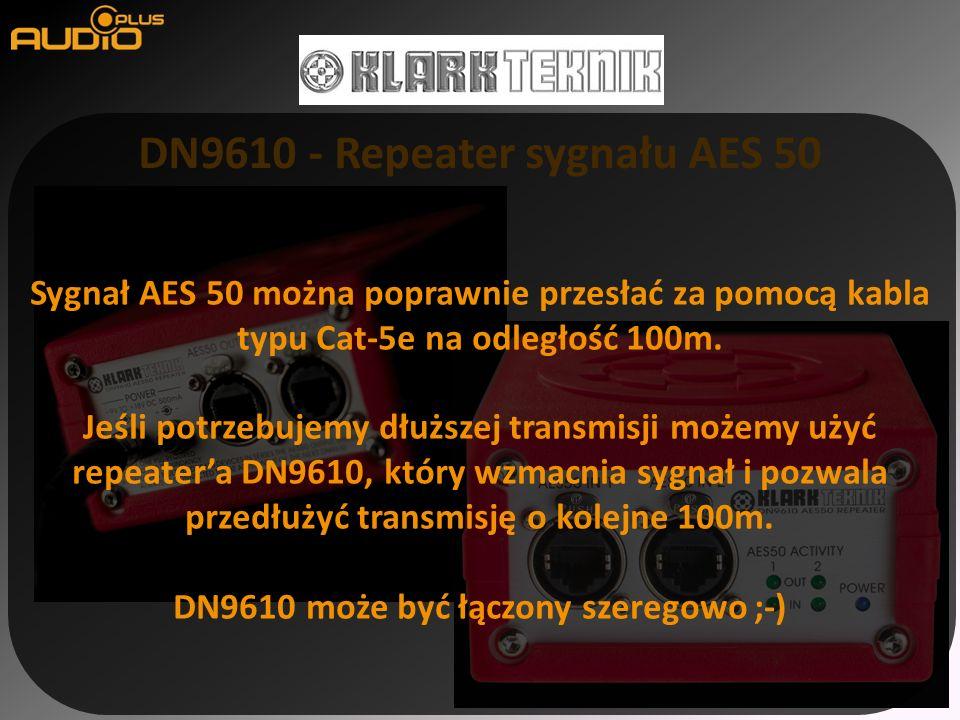 DN9610 - Repeater sygnału AES 50 Sygnał AES 50 można poprawnie przesłać za pomocą kabla typu Cat-5e na odległość 100m. Jeśli potrzebujemy dłuższej tra