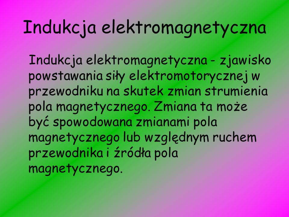 Indukcja elektromagnetyczna Indukcja elektromagnetyczna - zjawisko powstawania siły elektromotorycznej w przewodniku na skutek zmian strumienia pola magnetycznego.