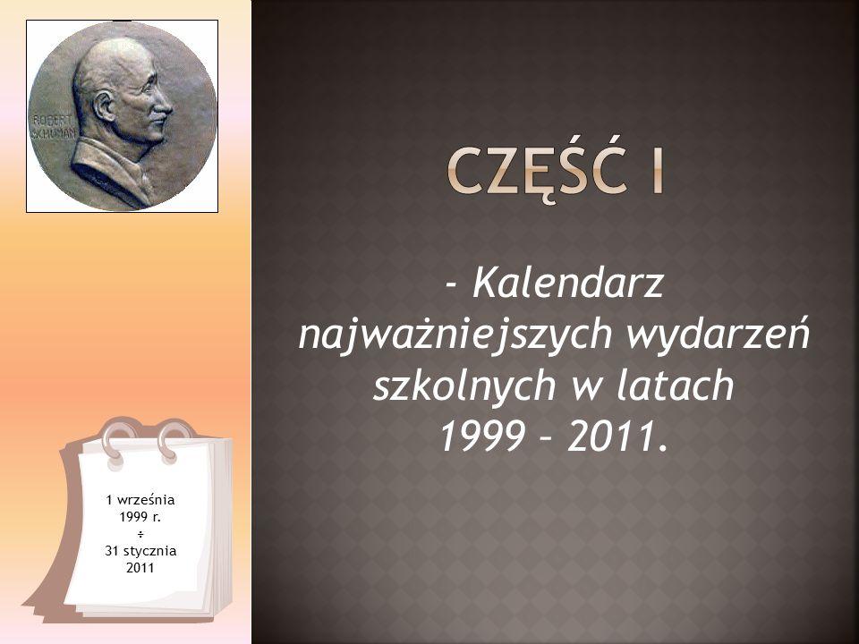 1 września 1999 r. ÷ 31 stycznia 2011 - Kalendarz najważniejszych wydarzeń szkolnych w latach 1999 – 2011.