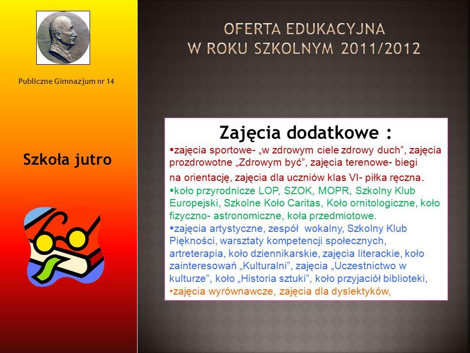 """Publiczne Gimnazjum nr 14 Szkoła jutro Zajęcia dodatkowe :  zajęcia sportowe- """"w zdrowym ciele zdrowy duch"""", zajęcia prozdrowotne """"Zdrowym być"""", zaję"""