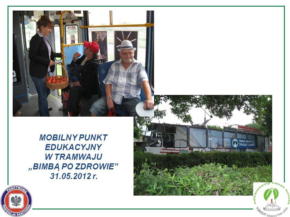 """MOBILNY PUNKT EDUKACYJNY W TRAMWAJU """"BIMBĄ PO ZDROWIE 31.05.2012 r."""