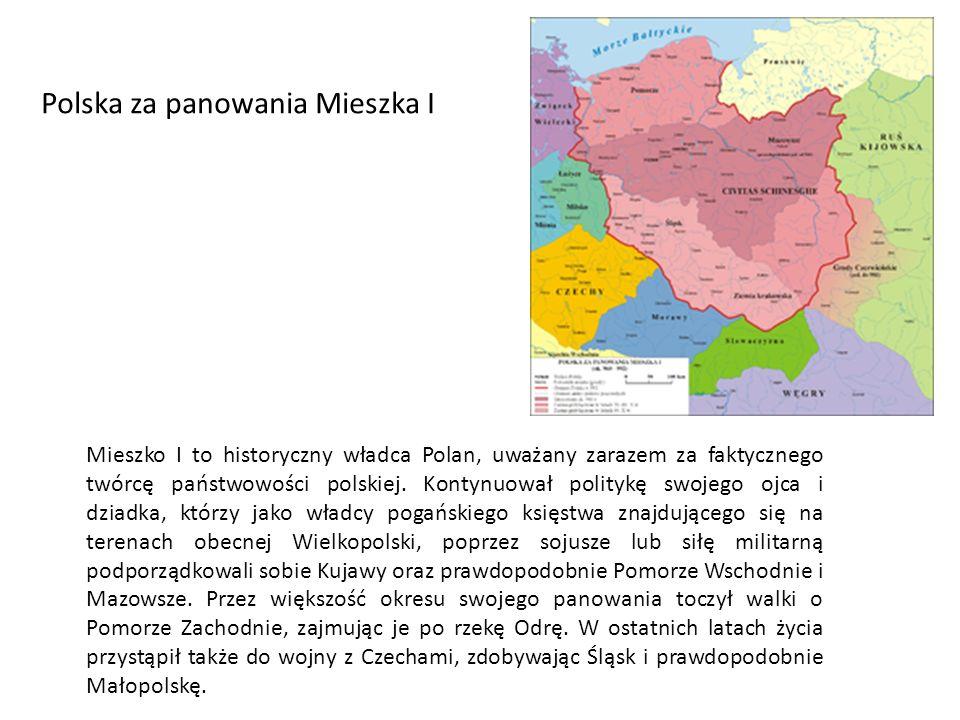 Mieszko I to historyczny władca Polan, uważany zarazem za faktycznego twórcę państwowości polskiej.