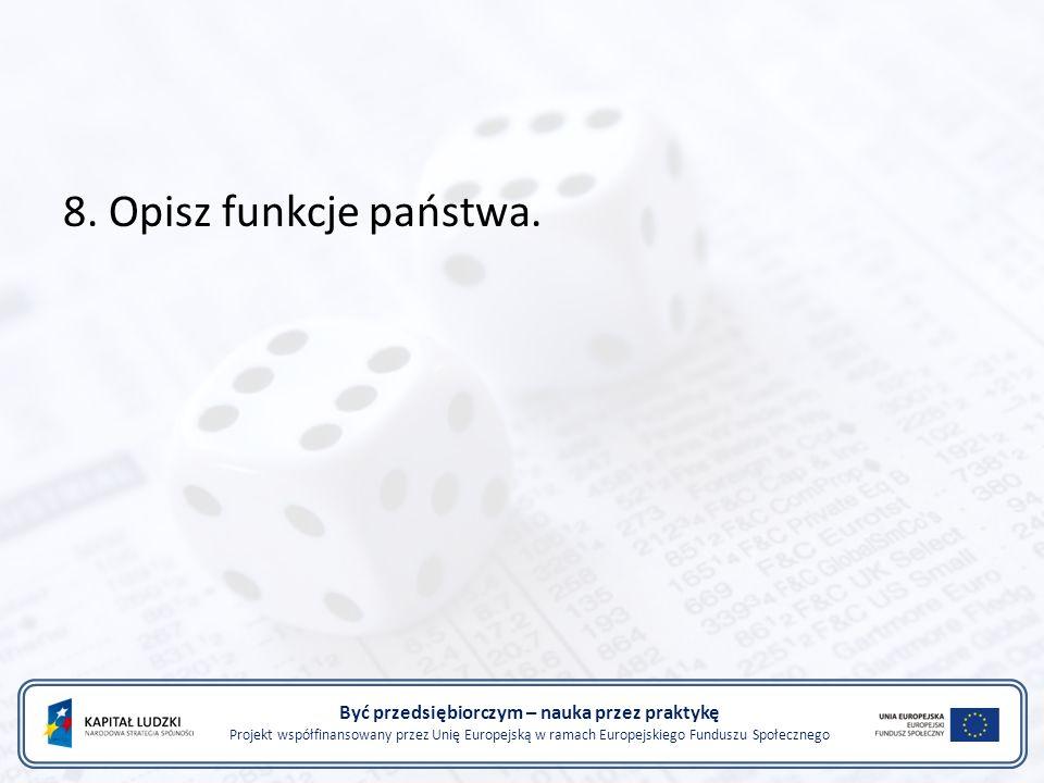 Być przedsiębiorczym – nauka przez praktykę Projekt współfinansowany przez Unię Europejską w ramach Europejskiego Funduszu Społecznego 8.