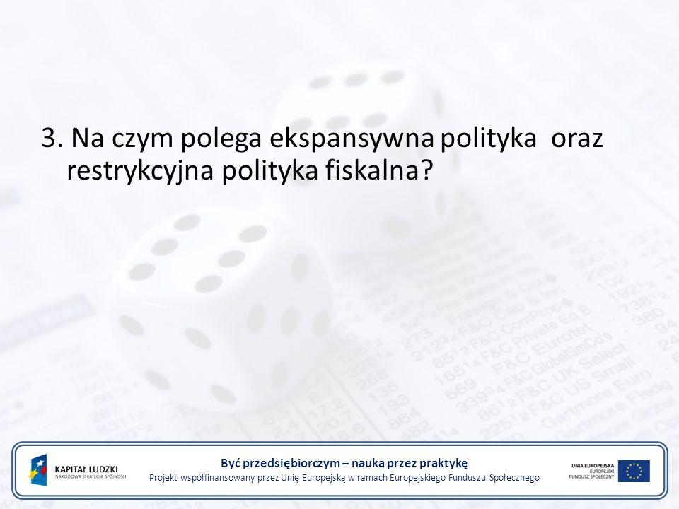 Być przedsiębiorczym – nauka przez praktykę Projekt współfinansowany przez Unię Europejską w ramach Europejskiego Funduszu Społecznego 3.
