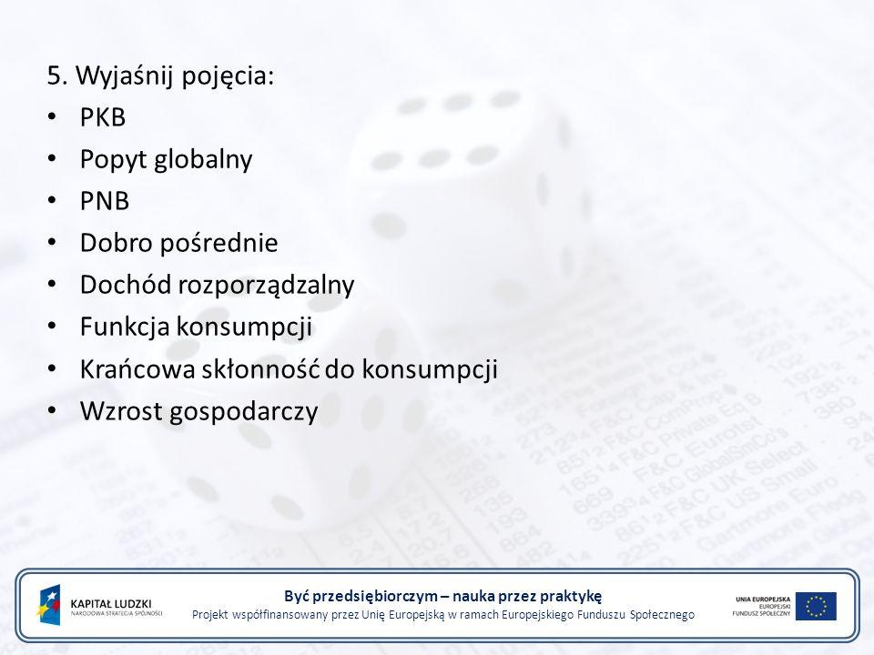 Być przedsiębiorczym – nauka przez praktykę Projekt współfinansowany przez Unię Europejską w ramach Europejskiego Funduszu Społecznego 5.
