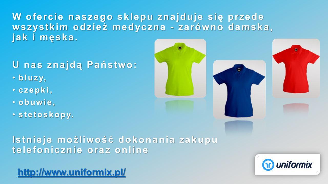 W ofercie naszego sklepu znajduje się przede wszystkim odzież medyczna - zarówno damska, jak i męska. U nas znajdą Państwo: bluzy,bluzy, czepki,czepki