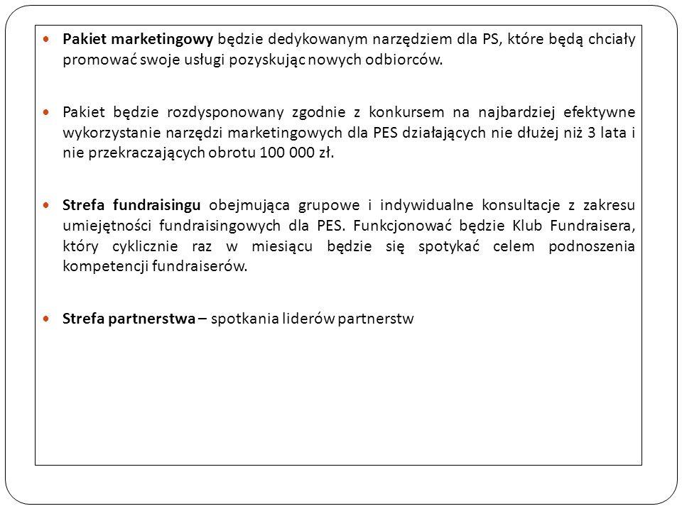 Pakiet marketingowy będzie dedykowanym narzędziem dla PS, które będą chciały promować swoje usługi pozyskując nowych odbiorców. Pakiet będzie rozdyspo
