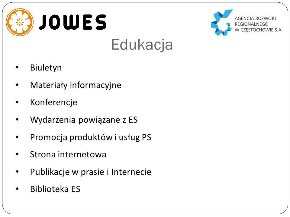 Edukacja Biuletyn Materiały informacyjne Konferencje Wydarzenia powiązane z ES Promocja produktów i usług PS Strona internetowa Publikacje w prasie i