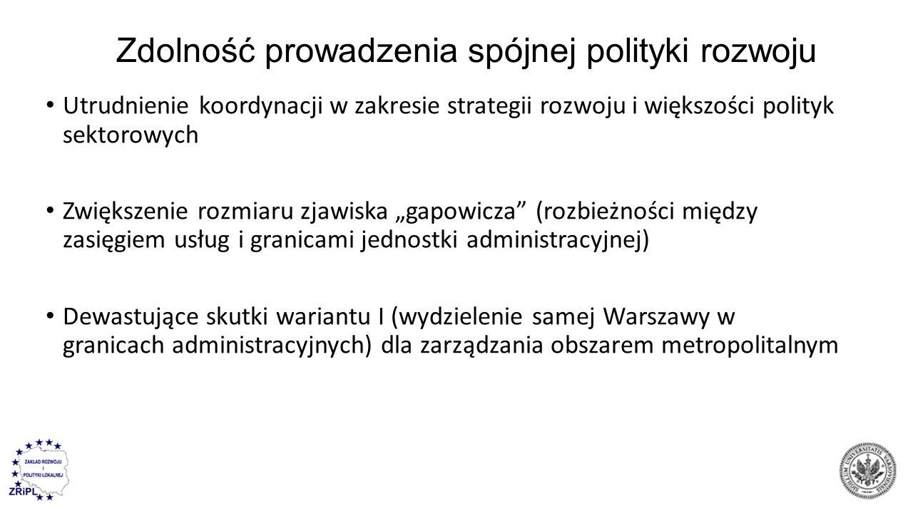 """Zdolność prowadzenia spójnej polityki rozwoju Utrudnienie koordynacji w zakresie strategii rozwoju i większości polityk sektorowych Zwiększenie rozmiaru zjawiska """"gapowicza (rozbieżności między zasięgiem usług i granicami jednostki administracyjnej) Dewastujące skutki wariantu I (wydzielenie samej Warszawy w granicach administracyjnych) dla zarządzania obszarem metropolitalnym"""