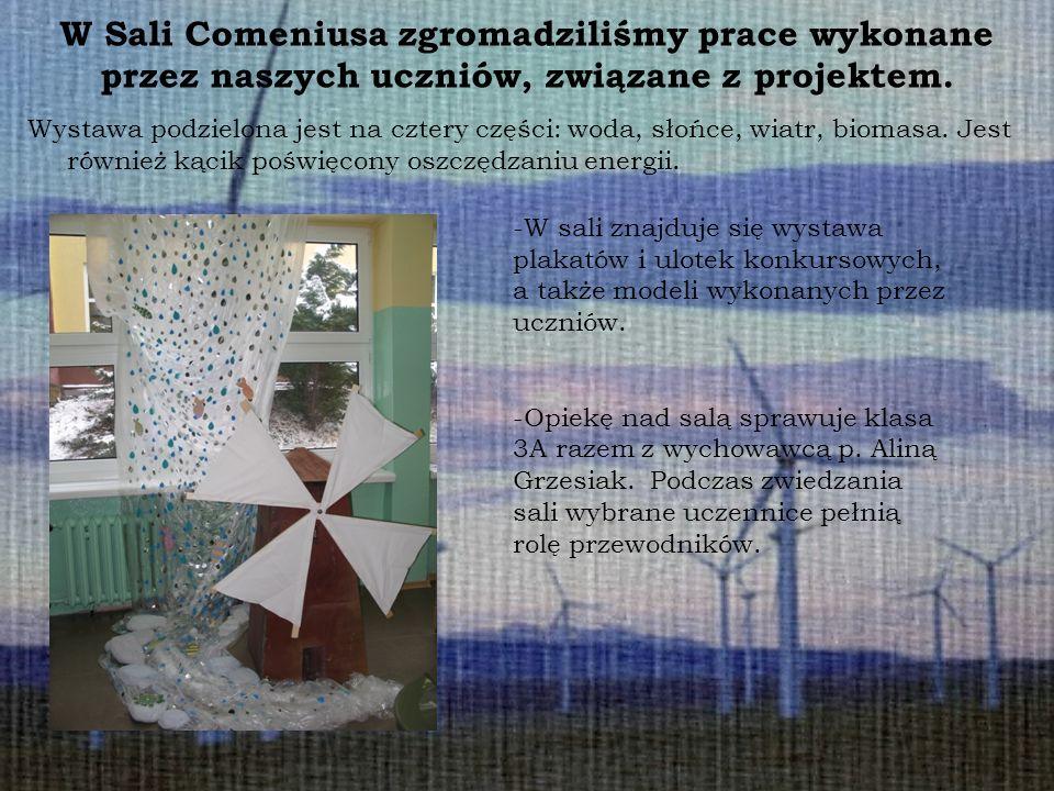 W Sali Comeniusa zgromadziliśmy prace wykonane przez naszych uczniów, związane z projektem. Wystawa podzielona jest na cztery części: woda, słońce, wi
