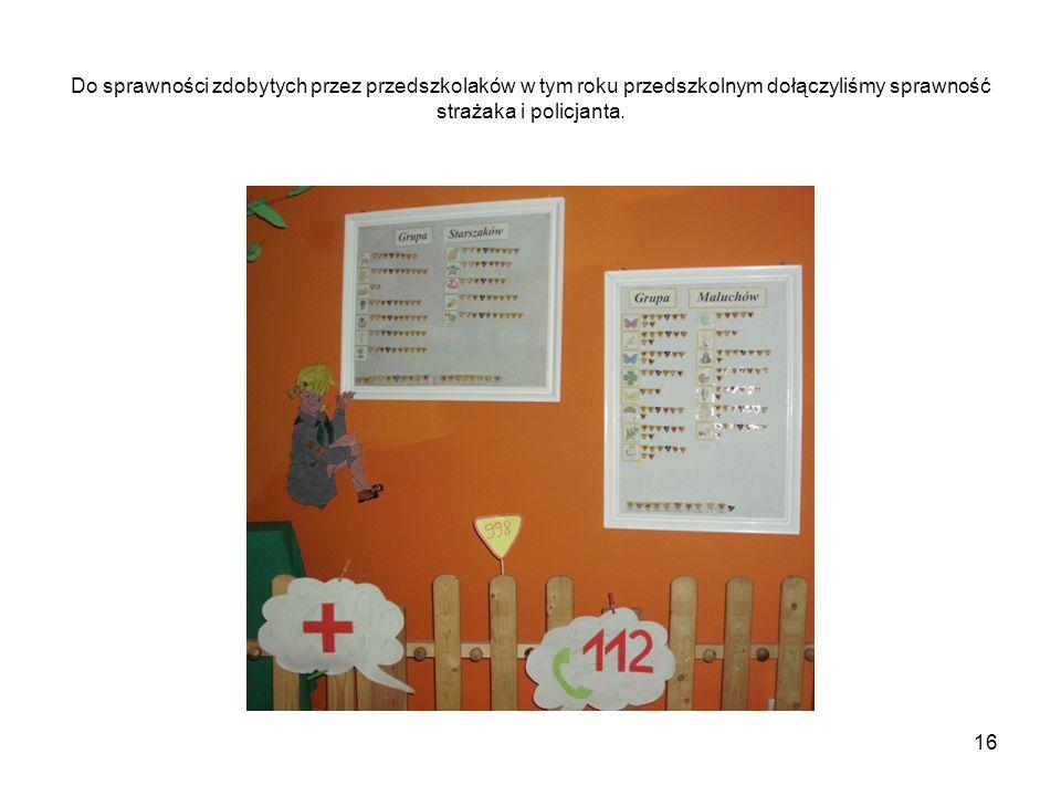 Do sprawności zdobytych przez przedszkolaków w tym roku przedszkolnym dołączyliśmy sprawność strażaka i policjanta.
