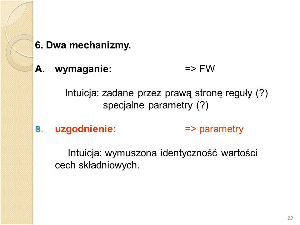 23 6. Dwa mechanizmy. A.wymaganie:=> FW Intuicja: zadane przez prawą stronę reguły (?) specjalne parametry (?) B. uzgodnienie:=> parametry Intuicja: w