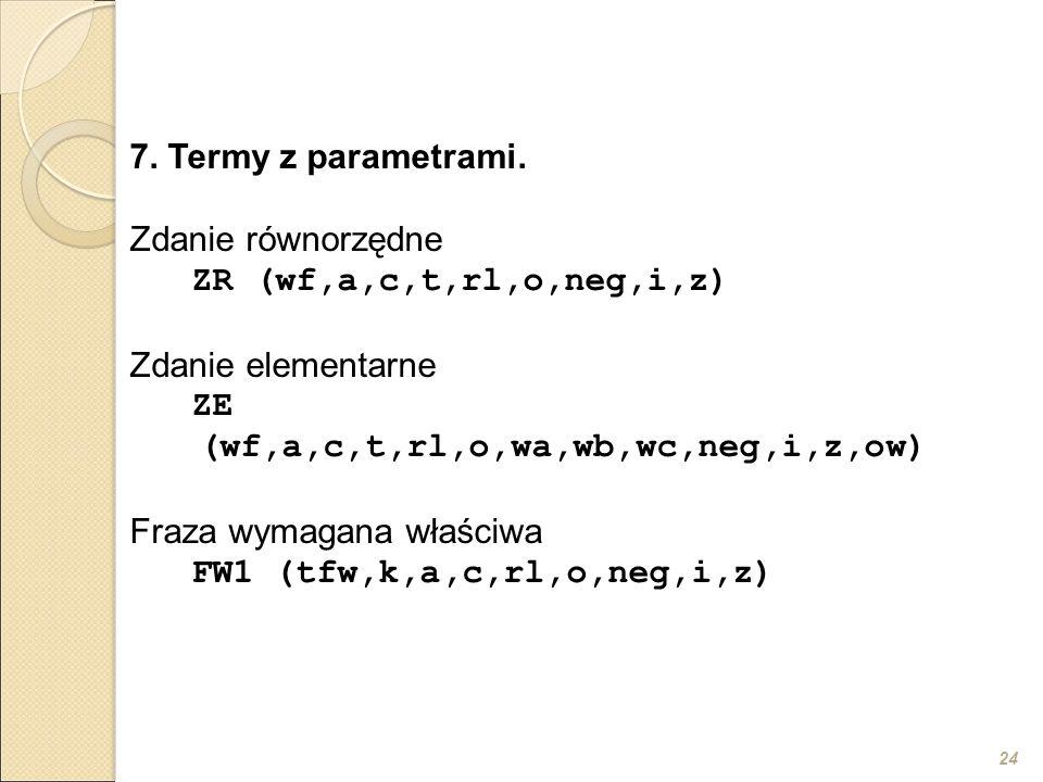 24 7. Termy z parametrami. Zdanie równorzędne ZR (wf,a,c,t,rl,o,neg,i,z) Zdanie elementarne ZE (wf,a,c,t,rl,o,wa,wb,wc,neg,i,z,ow) Fraza wymagana właś