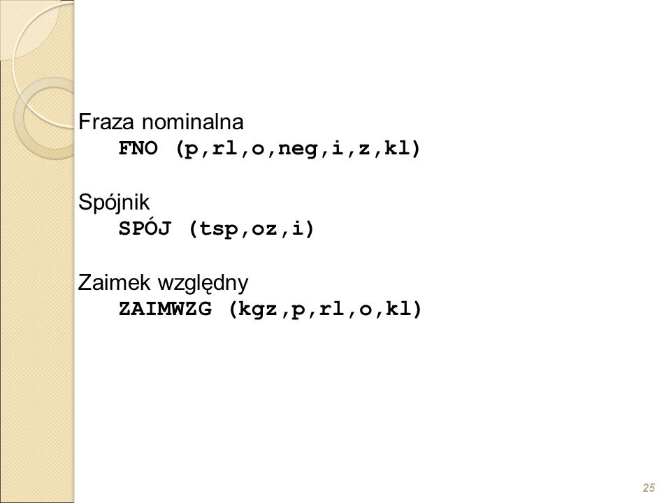 25 Fraza nominalna FNO (p,rl,o,neg,i,z,kl) Spójnik SPÓJ (tsp,oz,i) Zaimek względny ZAIMWZG (kgz,p,rl,o,kl)
