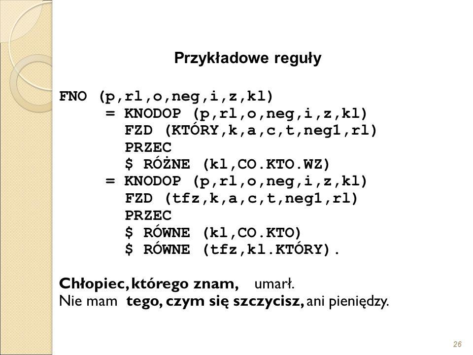 26 Przykładowe reguły FNO (p,rl,o,neg,i,z,kl) = KNODOP (p,rl,o,neg,i,z,kl) FZD (KTÓRY,k,a,c,t,neg1,rl) PRZEC $ RÓŻNE (kl,CO.KTO.WZ) = KNODOP (p,rl,o,neg,i,z,kl) FZD (tfz,k,a,c,t,neg1,rl) PRZEC $ RÓWNE (kl,CO.KTO) $ RÓWNE (tfz,kl.KTÓRY).