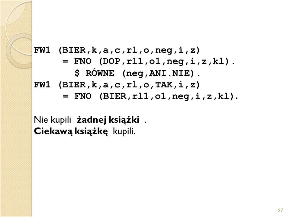 27 FW1 (BIER,k,a,c,rl,o,neg,i,z) = FNO (DOP,rl1,o1,neg,i,z,kl). $ RÓWNE (neg,ANI.NIE). FW1 (BIER,k,a,c,rl,o,TAK,i,z) = FNO (BIER,rl1,o1,neg,i,z,kl). N