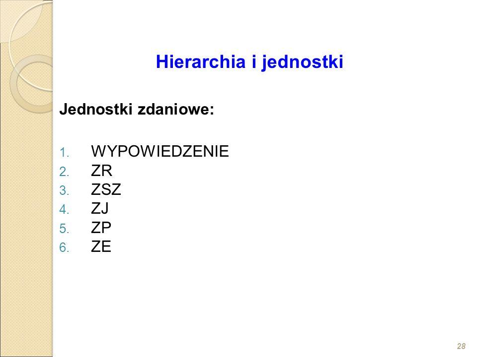 28 Hierarchia i jednostki Jednostki zdaniowe: 1. WYPOWIEDZENIE 2. ZR 3. ZSZ 4. ZJ 5. ZP 6. ZE