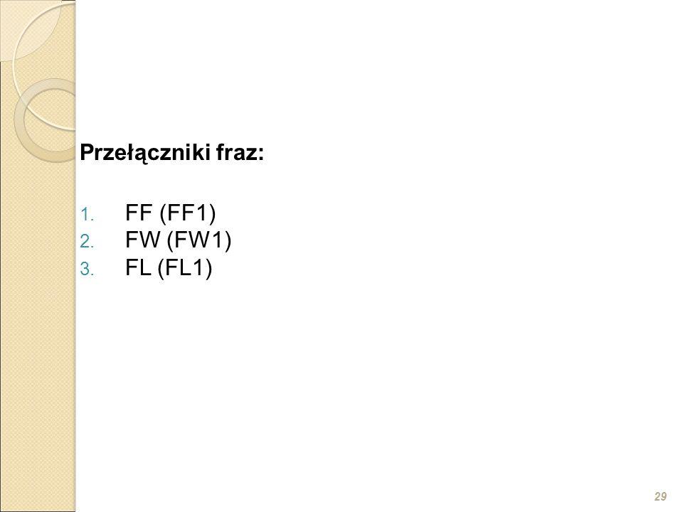 29 Przełączniki fraz: 1. FF (FF1) 2. FW (FW1) 3. FL (FL1)