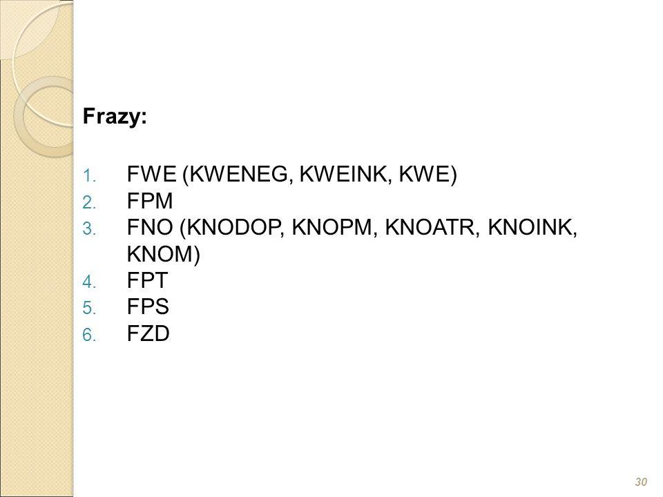 30 Frazy: 1. FWE (KWENEG, KWEINK, KWE) 2. FPM 3. FNO (KNODOP, KNOPM, KNOATR, KNOINK, KNOM) 4. FPT 5. FPS 6. FZD