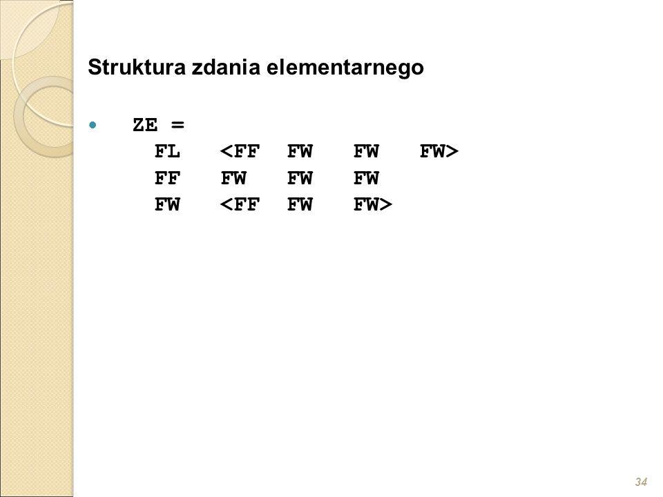 34 Struktura zdania elementarnego ZE = FL FFFWFWFW FW