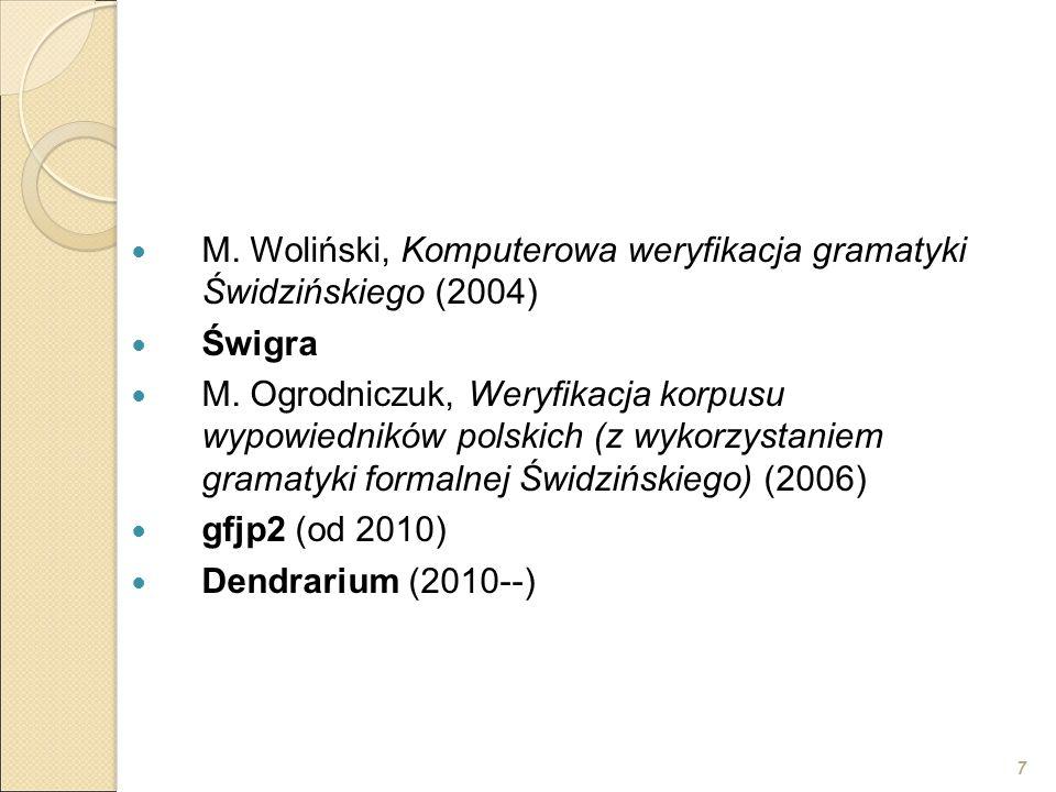 7 M. Woliński, Komputerowa weryfikacja gramatyki Świdzińskiego (2004) Świgra M. Ogrodniczuk, Weryfikacja korpusu wypowiedników polskich (z wykorzystan