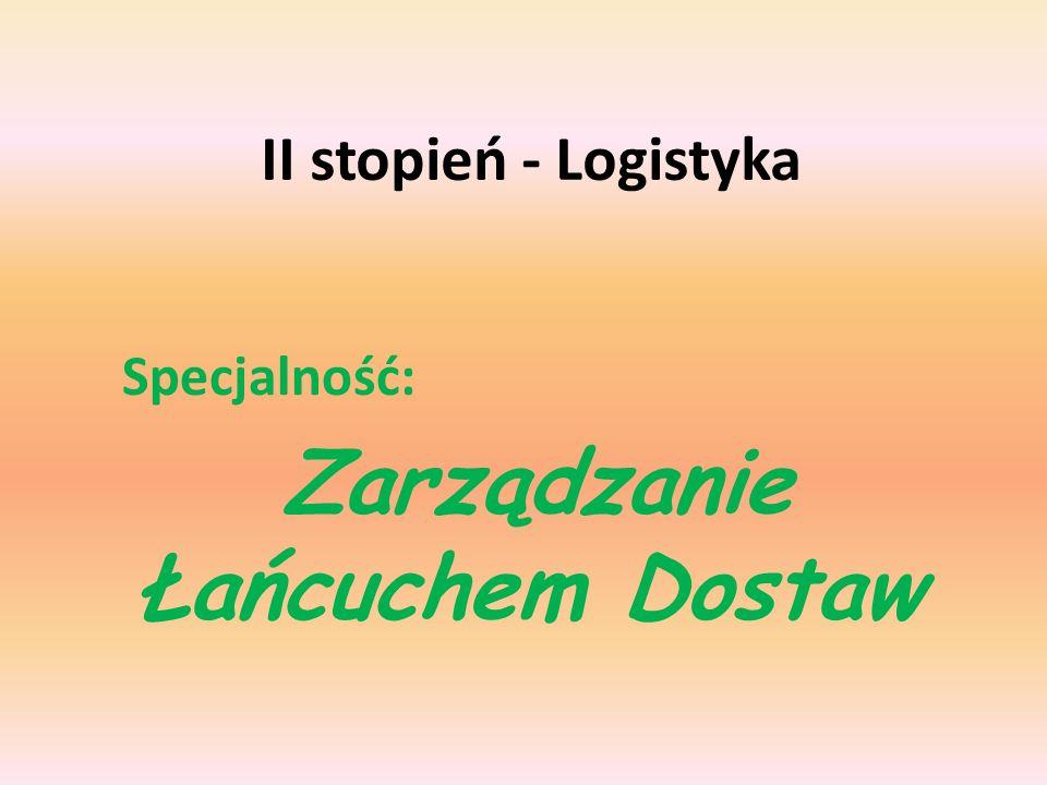 II stopień - Logistyka Specjalność: Zarządzanie Łańcuchem Dostaw