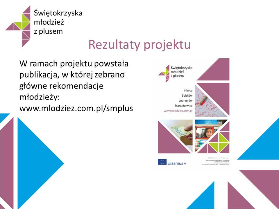 Rezultaty projektu W ramach projektu powstała publikacja, w której zebrano główne rekomendacje młodzieży: www.mlodziez.com.pl/smplus