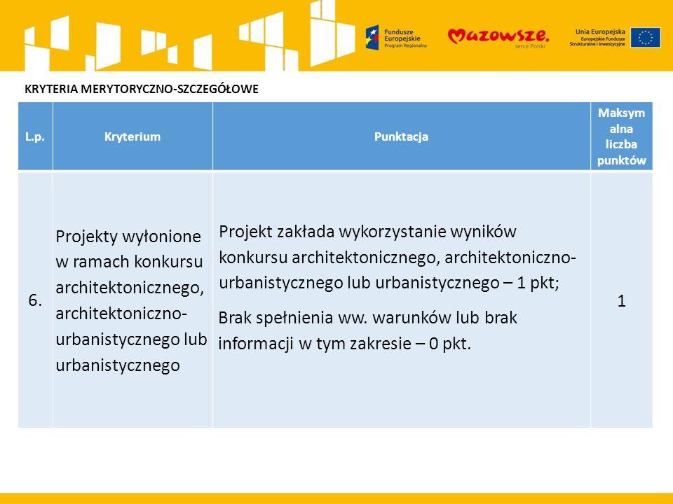 L.p.KryteriumPunktacja Maksym alna liczba punktów 6. Projekty wyłonione w ramach konkursu architektonicznego, architektoniczno- urbanistycznego lub ur