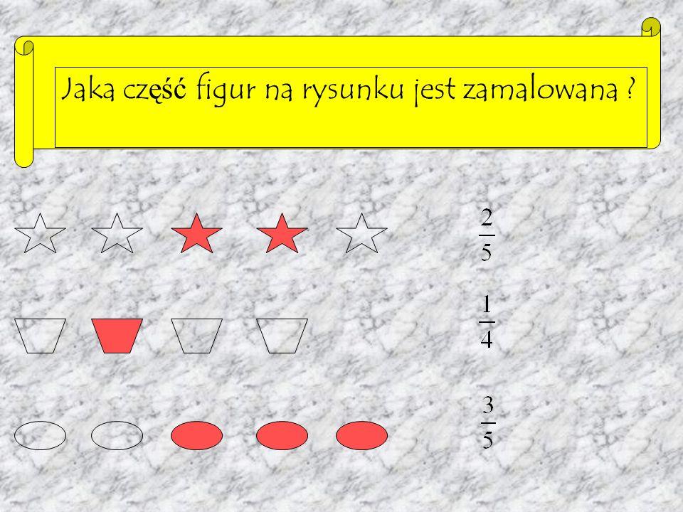 Połowa, czyli, powstaje z podziału całości na dwie równe części i wyodrębnieniu jednej z tych części. licznik ułamka kreska ułamkowa mianownik ułamka